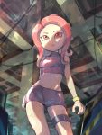 1girl :o agent_8 ayatori_(sensei_heroism) bare_shoulders black_skirt breasts crop_top legs_apart long_hair miniskirt octarian octoling open_mouth red_eyes redhead skirt sleeveless small_breasts solo splatoon splatoon_(series) splatoon_2 splatoon_2:_octo_expansion standing suction_cups tentacle_hair thigh_strap turtleneck wristband zipper zipper_pull_tab