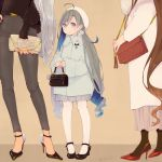 3girls ahoge alternate_costume bag beret black_footwear black_legwear brown_background brown_hair coat colis commentary_request full_body goat grey_coat grey_eyes grey_hair hair_between_eyes hair_bun handbag hat head_out_of_frame height_difference high_heels holding holding_bag kantai_collection kiyoshimo_(kantai_collection) long_hair long_sleeves looking_at_viewer low_twintails mary_janes multiple_girls musashi_(kantai_collection) nail_polish pants pantyhose pleated_skirt red_footwear shoes skirt solo_focus standing twintails white_hat white_legwear white_skirt yamato_(kantai_collection)