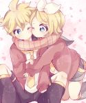 1boy 1girl aoi_choko_(aoichoco) blonde_hair blue_eyes bow cheek-to-cheek commentary hair_bow hair_ornament hairclip heart heart-shaped_pupils heart_background holding_arm jacket kagamine_len kagamine_rin kneeling leg_warmers necktie one_eye_closed scarf shared_scarf short_hair shorts siblings sitting symbol-shaped_pupils twins vocaloid
