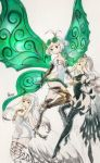 3girls aerie_(bravely_default) anne_(bravely_second) antenna_hair arms_behind_back bare_shoulders black_gloves black_legwear black_leotard boots bravely_default:_fairy's_effect bravely_default:_flying_fairy bravely_default_(series) bravely_second:_end_layer brown_eyes brown_legwear commentary_request dress elbow_gloves eyewear_on_head fairy fairy_wings glasses gloves green_eyes hand_on_own_chest high_heels highres ikusy leotard long_hair multiple_girls official_art pointy_ears rinne_(bravely_default) short_dress short_hair sketch strapless strapless_dress thigh-highs thigh_boots thigh_strap white_dress white_hair wings