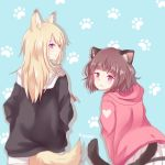 2girls :3 animal_ears artist_name blonde_hair blue_background blue_eyes brown_hair cat_ears cat_tail dog_ears dog_tail from_behind highres hood hood_down hoodie jacket kmnz leaning_forward long_hair looking_at_viewer looking_back mc_lita mc_liz multiple_girls nyaku paw_background pleated_skirt short_hair skirt smile tail virtual_youtuber