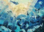 1boy animal blue bubble cat diving diving_mask fish flashlight goggles hat houshin_engi kokutenkou male_focus perspective pillar rubble ruins scarf school_of_fish shinkouhyou solo squatting tomacobo underwater water