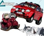 4girls :d blue_hair car dog down_jacket glasses goggles goggles_on_head ground_vehicle highres inuyama_aoi kagamihara_nadeshiko miraruto_(h3yja) motor_vehicle multiple_girls oogaki_chiaki open_mouth parody pink_hair searchlight shima_rin sled smile top_gear toyota toyota_hilux yurucamp