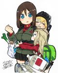3girls absurdres animal_print artist_name baby backpack bag bangs black_hair black_hat black_skirt blonde_hair blue_eyes blush bunny_print carrying child chips clara_(girls_und_panzer) clenched_hand closed_eyes commentary_request emblem fanta_(the_banana_pistols) food girls_und_panzer green_jacket grocery_bag ground_vehicle hand_on_another's_head hat highres jacket katyusha kv-2 long_hair long_sleeves looking_at_another military military_vehicle miniskirt motor_vehicle multiple_girls no_jacket nonna nose_blush open_mouth outstretched_arms panties pantyshot pantyshot_(standing) pleated_skirt potato_chips pravda_school_uniform randoseru red_shirt saliva school_uniform shirt shopping_bag short_hair signature simple_background skirt sleeping smile spring_onion standing swept_bangs tank tank_helmet traditional_media turtleneck underwear white_background white_panties younger