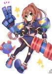 1girl black_gloves bobot brown_hair commentary_request eyewear_on_head gloves green_eyes handheld_game_console long_hair looking_at_viewer mechanical_arm omuretsu pantyhose playstation_portable ponytail precis_neumann shirt skirt smile star_ocean star_ocean_the_second_story