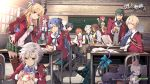5girls 6+boys absurdres ahoge alisa_reinford arm_around_shoulder bag bell bell_collar belt black_footwear black_hair blonde_hair blue_eyes blue_hair blue_neckwear book boots bow bowtie braid breasts brown_footwear brown_hair brown_legwear card cat celine_(sen_no_kiseki) chair chalkboard chess_piece chessboard classroom cleavage closed_eyes coat collar collared_shirt copyright_name cross-laced_footwear crow_armbrust day desk dress eiyuu_densetsu eliot_craig emma_millstein enami_katsumi eyebrows_visible_through_hair feathers fie_claussell food gaius_worzel glasses green_eyes green_hair green_neckwear hair_between_eyes hair_bow hair_feathers hair_ribbon hairband hand_on_own_cheek headband highres jusis_albarea large_breasts laura_s._arzeid legs_crossed long_sleeves looking_at_another looking_at_viewer machias_regnitz medium_breasts miniskirt mishy multiple_boys multiple_girls necktie notebook official_art on_desk orange_eyes orange_hair pants plaid plaid_skirt plastic_bag playing_card ponytail puffy_long_sleeves puffy_sleeves purple_hair rean_schwartzer red_eyes redhead ribbon sara_valestein school_uniform scowl sen_no_kiseki shirt shoes short_dress silver_hair sitting sitting_on_desk skirt small_breasts smile spiky_hair standing stuffed_animal stuffed_cat stuffed_toy sunlight tail tail_ribbon thigh-highs thigh_boots turtleneck vest violet_eyes watermark window yellow_eyes