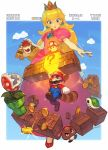 1girl 2boys ? animal_ears armlet black_eyes blonde_hair blue_eyes bowser bracelet brick brown_footwear castle clouds coin crown elbow_gloves facial_hair flag gameplay_mechanics gem gloves glowing goomba hat highres holding jewelry jumping leaf lipstick long_hair makeup mario mario_(series) multiple_boys mushroom mustache na_in-sung nintendo open_mouth parted_lips pink_lips pink_lipstick pipe piranha_plant princess_peach red_eyes red_footwear red_hat redhead shell shoes signature smile sparkle spiked_armlet spiked_bracelet spikes tail teeth white_gloves