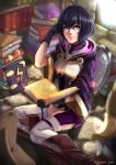 1girl adjusting_hair ahoge black_gloves black_hair book book_stack bookshelf brown_footwear caiman-pool fire_emblem fire_emblem:_kakusei fire_emblem_heroes gloves highres holding holding_book hood hood_down light_smile looking_at_viewer looking_up mark_(female)_(fire_emblem) nintendo short_hair sitting sleeves_past_elbows solo thigh-highs violet_eyes white_legwear wide_sleeves