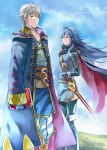 1boy 1girl a_meno0 blue_eyes blue_hair blush cape cover cover_page doujin_cover falchion_(fire_emblem) fire_emblem fire_emblem:_kakusei gloves hood long_hair looking_at_viewer lucina male_my_unit_(fire_emblem:_kakusei) mamkute mejiro my_unit_(fire_emblem:_kakusei) nintendo open_mouth robe short_hair simple_background smile sword tiara weapon white_hair