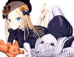 2girls abigail_williams_(fate/grand_order) absurdres arm_support arms_up bangs barefoot black_bow black_dress black_hat blonde_hair blue_eyes bow closed_mouth commentary_request dress eyebrows_visible_through_hair fate/grand_order fate_(series) fingernails forehead hair_between_eyes hair_bow hat highres horn knees_up lavinia_whateley_(fate/grand_order) legs_up long_hair long_sleeves lying multiple_girls on_back on_stomach orange_bow pale_skin parted_bangs polka_dot polka_dot_bow sanbe_futoshi shadow silver_hair sleeves_past_wrists smile soles stuffed_animal stuffed_toy teddy_bear very_long_hair violet_eyes white_background