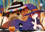 1girl akatsuki_no_yona aki_nattsu black_legwear black_nails boots cape checkered checkered_floor hair_between_eyes hak_(akatsuki_no_yona) happy_halloween hat highres looking_at_viewer lying multicolored multicolored_nails nail_polish neck_ribbon on_stomach orange_nails pumpkin_hat_ornament purple_cape purple_footwear purple_hat red_ribbon redhead ribbon short_hair solo the_pose violet_eyes witch_hat yona_(akatsuki_no_yona)