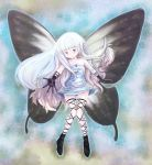 1girl aerie_(bravely_default) bare_shoulders black_gloves blue_eyes bravely_default:_flying_fairy bravely_default_(series) burakkori butterfly_wings dress fairy fairy_wings full_body gloves highres long_hair outstretched_hand pointy_ears short_dress smile solo strapless strapless_dress thigh_gap thigh_strap very_long_hair white_dress white_hair wings