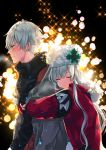 1boy 1girl anastasia_(fate/grand_order) black_background black_sweater blush closed_eyes coat couple embarrassed fate/grand_order fate_(series) from_side hat highres hug hug_from_behind kadoc_zemlupus long_hair open_clothes open_coat red_coat shika_(isk_mjkss) silver_hair smile sweater turtleneck turtleneck_sweater upper_body white_hat winter_clothes winter_coat yellow_eyes