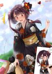 1girl al_bhed_eyes anger_vein bangs black_kimono blue_sky blush breasts clouds day eyebrows_visible_through_hair floral_print flower girls_frontline hagoita hair_flower hair_ornament hair_ribbon highres holding_brush holding_paddle japanese_clothes kimono large_breasts long_hair looking_at_viewer meito_harmren obi one_side_up open_mouth outdoors paddle punishment_game purple_hair red_eyes ribbon sash shuttlecock sidelocks sky spoken_anger_vein surprised sweatdrop trembling very_long_hair wa2000_(girls_frontline)