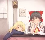 2girls :o ascot bangs bare_shoulders black_hair blonde_hair blush bow chin_rest clock closed_eyes commentary_request detached_sleeves eyebrows_visible_through_hair frilled_bow frills hair_tubes hakurei_reimu hand_up indoors kirisame_marisa long_hair long_sleeves miyo_(ranthath) multiple_girls no_hat no_headwear parted_lips red_bow ribbon-trimmed_sleeves ribbon_trim sidelocks sleeping table tokkuri touhou translation_request upper_body wide_sleeves yellow_neckwear