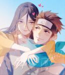 1boy 1girl blue_background blue_scarf blush boruto:_naruto_next_generations brown_hair brown_kimono collarbone commentary_request couple daylight919 forehead_protector headband heart hetero highres hug hug_from_behind hyuuga_hanabi japanese_clothes kimono konohagakure_symbol lavender_eyes long_hair looking_at_another looking_at_viewer looking_back naruto naruto_(series) no_pupils sarutobi_konohamaru scarf signature smile