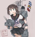 1girl adapted_turret black_eyes black_hair black_sailor_collar black_skirt cannon character_name cowboy_shot flag fubuki_(kantai_collection) grey_background highres juraki_hakuaki kantai_collection low_ponytail machinery naval_flag pleated_skirt ponytail remodel_(kantai_collection) sailor_collar school_uniform serafuku short_ponytail sidelocks simple_background skirt solo translation_request turret