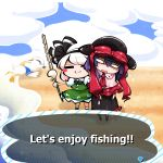 2girls :3 =_= beach bird blank_eyes blush_stickers bow doubutsu_no_mori dress english_text fishing_rod frills hairband hat hat_bow highres johnny_(doubutsu_no_mori) kashuu_(b-q) konpaku_youmu multiple_girls nagae_iku nintendo purple_hair short_hair touhou wet white_hair