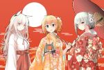 3girls animal_ears bags_under_eyes blue_eyes cat_ears chinese_new_year chinese_zodiac commentary_request dinergate_(girls_frontline) girls_frontline grey_hair helianthus_(girls_frontline) japanese_clothes kalina_(girls_frontline) kimono looking_at_viewer miko monocle multiple_girls orange_hair persica_(girls_frontline) pig_ears pink_hair red_eyes take_(trude1945oneetyan) tusks umbrella year_of_the_pig yellow_eyes