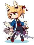 1girl 7th_dragon 7th_dragon_(series) animal_ear_fluff animal_ears bangs bell black_bodysuit blonde_hair bodysuit breasts commentary_request covered_navel eyebrows_visible_through_hair fox_ears green_eyes head_tilt holding holding_sheath holding_sword holding_weapon jingle_bell katana long_sleeves looking_away looking_to_the_side naga_u namuna_(7th_dragon) red_footwear samurai_(7th_dragon_series) shadow sheath shoes sidelocks small_breasts solo standing swept_bangs sword unsheathed v-shaped_eyebrows weapon white_background wide_sleeves