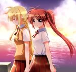 2girls backlighting bangs black_skirt blonde_hair blue_eyes blue_sky brown_hair closed_eyes closed_mouth clouds cloudy_sky commentary_request dress_shirt eyebrows_visible_through_hair fate_testarossa hair_tie hand_holding kohaku_(kohagura) light_smile long_hair looking_at_viewer lyrical_nanoha mahou_shoujo_lyrical_nanoha mahou_shoujo_lyrical_nanoha_a's minigirl multiple_girls neck_ribbon ocean orange_sky outdoors pleated_skirt red_nose ribbon school_uniform shirt short_sleeves side_ponytail skirt sky smile standing sunset sweater sweater_vest takamachi_nanoha walking white_shirt wing_collar yellow_sweater yuri
