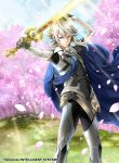 1boy arm_up armor black_panties cherry_blossoms fire_emblem fire_emblem_cipher fire_emblem_if floating_hair gloves grey_gloves holding holding_sword holding_weapon long_hair looking_at_viewer male_focus male_my_unit_(fire_emblem_if) my_unit_(fire_emblem_if) nintendo official_art outdoors outstretched_arm panties pointy_ears red_eyes silver_hair solo standing sunlight sword toyota_saori underwear weapon