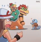 1girl 3others ayyk92 blue_(pokemon) bowser bowser_jr. creatures_(company) dragon game_freak gen_1_pokemon hat horns long_hair mario_(series) monster multiple_boys nintendo nintendo_ead pokemon pokemon_(creature) pokemon_frlg signature sitting sitting_on_person sora_(company) squirtle super_mario_bros. super_smash_bros. super_smash_bros._ultimate super_smash_bros_brawl turtle