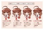1girl =3 ahoge bangs black_eyes bloom2425 blue_eyes blush border bow braid brown_hair hair_bow hair_flaps hair_ornament heart kantai_collection open_mouth red_bow red_neckwear remodel_(kantai_collection) sailor_collar shigure_(kantai_collection) short_hair single_braid smile text_focus tongue tongue_out translation_request