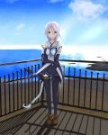 1girl absurdres bangs beach black_gloves black_legwear black_serafuku black_shirt black_skirt blue_eyes blue_neckwear blue_sky braid breasts brown_footwear clouds cloudy_sky collarbone day elbow_gloves fence full_body gloves hair_flaps hair_tie highres island kantai_collection long_hair looking_at_viewer medium_breasts mole mole_under_eye mountain neckerchief ocean outdoors parted_bangs pleated_skirt rock sailor_collar sand school_uniform serafuku shirt silver_hair single_braid skirt sky sleeveless sleeveless_shirt solakaki solo thigh-highs torii twitter_username umikaze_(kantai_collection) very_long_hair water white_sailor_collar