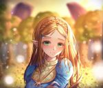 1girl aqua_eyes blonde_hair blurry blurry_background braid crying crying_with_eyes_open day hair_ornament hairclip highres long_hair long_sleeves looking_at_viewer nani_(goodrich) nintendo outdoors pointy_ears princess_zelda sad solo tears the_legend_of_zelda the_legend_of_zelda:_breath_of_the_wild upper_body very_long_hair