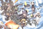 6+girls bdsm black_gloves blonde_hair bondage bound brown_hair chains chainsaw checkered checkered_neckwear double_bun drum_(container) enemy_aircraft_(kantai_collection) eyepatch flamethrower glaive gloves goggles gun hair_intakes headgear i-class_destroyer ido_(teketeke) kantai_collection light_green_hair mad_max mad_max:_fury_road mechanical_halo mochizuki_(kantai_collection) multiple_girls nagatsuki_(kantai_collection) naka_(kantai_collection) necktie northern_ocean_hime partly_fingerless_gloves purple_hair satsuki_(kantai_collection) school_uniform short_hair skeleton skirt sword tatsuta_(kantai_collection) tenryuu_(kantai_collection) thigh-highs weapon white_hair yellow_eyes