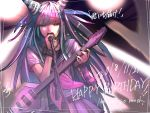 1girl black_nails commentary_request cowboy_shot danganronpa dated ear_piercing electric_guitar english_text eyebrows_visible_through_hair gloves guitar happy_birthday highres holding holding_microphone instrument jellicle341 long_hair microphone microphone_stand mioda_ibuki mismatched_gloves multicolored_hair music nail_polish open_mouth piercing pink_eyes pink_skirt school_uniform serafuku shirt short_sleeves singing skirt solo super_danganronpa_2 translation_request white_shirt
