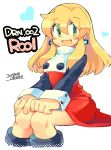 1girl android blonde_hair blush breasts capcom dated dress earrings eyebrows_visible_through_hair green_eyes hair_between_eyes hair_down hands_on_own_knees heart iroyopon jewelry long_hair looking_at_viewer open_mouth red_dress rockman rockman_(classic) rockman_8 roll signature simple_background sitting small_breasts solo turtleneck white_background