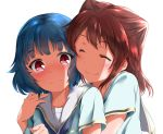 2girls bang_dream! bangs blue_hair blush brown_hair closed_eyes collarbone commentary_request envelolip eyebrows_visible_through_hair hair_between_eyes hand_on_another's_shoulder hug hug_from_behind long_hair looking_at_viewer multiple_girls red_eyes school_uniform shirt short_hair simple_background smile toyama_kasumi ushigome_rimi white_background yuri