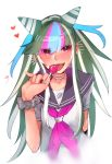 1girl black_nails blurry blush candy commentary_request danganronpa danganronpa_3 ear_piercing eyebrows_visible_through_hair fangs fingernails food food_in_mouth green_wristband heart highres jellicle341 jewelry licking lip_piercing lollipop long_hair mioda_ibuki multicolored_hair nail_polish necklace piercing pink_neckwear red_heart sailor_collar school_uniform shirt short_sleeves signature simple_background solo super_danganronpa_2 tongue tongue_out upper_body white_background white_shirt wristband