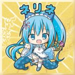 1girl :d apron bangs bikkuriman_(style) blue_eyes blue_footwear blue_hair blue_kimono blue_skirt character_name chibi eyebrows_visible_through_hair flower_knight_girl gem hair_between_eyes high_ponytail japanese_clothes kimono long_hair long_sleeves nerine_(flower_knight_girl) open_mouth over-kneehighs pleated_skirt ponytail ribbon-trimmed_legwear ribbon_trim rinechun shoes short_kimono skirt smile solo thigh-highs very_long_hair white_apron white_legwear wide_sleeves