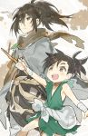 2boys bandage brown_eyes brown_hair cloak dororo_(character) dororo_(tezuka) highres hyakkimaru_(dororo) japanese_clothes kanyoko_(yuzukano_17) male_focus multiple_boys sack sharp_teeth sheath sheathed short_ponytail simple_background stick sword teeth walking weapon white_background