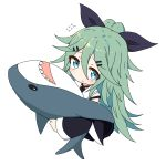 1girl bangs black_ribbon black_skirt black_sleeves blue_eyes blush closed_mouth commentary_request detached_sleeves eyebrows_visible_through_hair from_above green_hair hair_between_eyes hair_ornament hair_ribbon hairclip high_ponytail highres ichi ikea_shark kantai_collection long_hair long_sleeves looking_at_viewer looking_up object_hug pleated_skirt ponytail ribbon sailor_collar simple_background skirt solo stuffed_animal stuffed_shark stuffed_toy very_long_hair white_background white_sailor_collar wide_sleeves yamakaze_(kantai_collection)