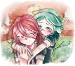 2others ahoge androgynous blush green_eyes green_hair hair_between_eyes hand_holding happy houseki_no_kuni hug hug_from_behind long_bangs multiple_others phosphophyllite red_eyes redhead scenery shinsha_(houseki_no_kuni) short_hair smile tearing_up tears upper_body