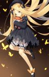 1girl abigail_williams_(fate/grand_order) bangs black_bow black_dress black_footwear black_hat blonde_hair blue_eyes blush bow brown_background bug butterfly dress fate/grand_order fate_(series) forehead gradient gradient_background hair_bow hat highres holding holding_stuffed_animal insect legs long_hair long_sleeves looking_at_viewer mary_janes orange_bow parted_bangs ribbed_dress shoes sleeves_past_fingers sleeves_past_wrists solo stuffed_animal stuffed_toy teddy_bear very_long_hair white_bloomers yura_(botyurara)
