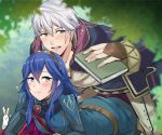 1boy 1girl a_meno0 ass blue_eyes blue_hair blush book cape couple fire_emblem fire_emblem:_kakusei gloves hetero long_hair lucina male_my_unit_(fire_emblem:_kakusei) mejiro my_unit_(fire_emblem:_kakusei) nintendo open_mouth robe short_hair silver_hair tiara