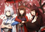 akagi_(azur_lane) amagi_(azur_lane) animal_ears azur_lane bangs black_kimono blue_eyes blunt_bangs breasts brown_hair choker eyeliner eyeshadow fox_ears fox_girl hair_ornament highres japanese_clothes kaga_(battleship)_(azur_lane) kimono kitsune large_breasts long_hair makeup multiple_tails oriental_umbrella paddle paint_on_face red_eyes tail thick_eyebrows tosaka0002 umbrella violet_eyes white_hair white_kimono wide_sleeves