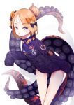 1girl :o abigail_williams_(fate/grand_order) bangs belt black_bow blonde_hair blue_eyes blush bow crossed_bandaids eyebrows_visible_through_hair fang fate/grand_order fate_(series) hair_bow hair_bun heroic_spirit_traveling_outfit highres jacket long_hair long_sleeves looking_at_viewer orange_bow parted_bangs purple_jacket simple_background sleeves_past_fingers sleeves_past_wrists solo spinuo standing suction_cups tentacle white_background