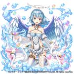 1girl :d angel_wings animal argyle_cutout bangs bare_shoulders bird black_bow black_choker blue_eyes blue_hair bow braid breasts choker cleavage collarbone covered_navel crystal detached_sleeves eyebrows_visible_through_hair feathered_wings full_body gradient hakuda_tofu halo head_tilt highres jewelry juliet_sleeves kneeling lace_trim long_sleeves looking_at_viewer medium_breasts miniskirt mismatched_legwear monster_collect official_art open_mouth puffy_sleeves short_hair simple_background single_earring single_garter_strap skirt sleeves_past_wrists smile solo swan thigh-highs upper_teeth waist_cape water watermark white_background white_legwear white_skirt wide_sleeves wings zettai_ryouiki
