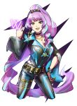 1girl :d absurdly_long_hair black_bodysuit bodysuit bracelet breasts choker cleavage collarbone cropped_legs floating_hair highlights highres jewelry large_breasts long_hair long_sleeves looking_at_viewer macross macross_delta mikumo_guynemer multicolored_hair necklace open_mouth ponytail purple_hair red_eyes ring shimatani_azu shiny shiny_hair smile solo standing very_long_hair w white_background