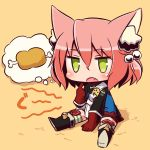 1girl 7th_dragon 7th_dragon_(series) :o animal_ear_fluff animal_ears bangs belt belt_buckle between_legs black_footwear blue_jacket blush boned_meat boots buckle cat_ears chibi commentary_request eyebrows_visible_through_hair fang food full_body gloves green_eyes hair_between_eyes hair_bobbles hair_ornament hand_between_legs harukara_(7th_dragon) jacket knee_boots long_sleeves meat naga_u one_side_up open_mouth orange_background pink_hair red_gloves shadow shoe_soles sitting solo striped striped_legwear thigh-highs thighhighs_under_boots white_belt