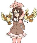 :3 bird black_eyes brown_hair cinnamon_(sinamuna) cowboy_shot fingerless_gloves glasses gloves green_eyes hazel_eyes heterochromia jacket long_hair minccino pidgey pink_eyes pokemon sinamuna_(character) skirt smile solo squeegwee thick_eyebrows thigh-highs yellow_eyes