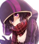 1girl black_hair closed_mouth fire_emblem fire_emblem:_kakusei fire_emblem_heroes gloves highres hood hood_up mark_(female)_(fire_emblem) mark_(fire_emblem) nakabayashi_zun nintendo scarf simple_background solo violet_eyes white_background