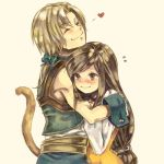 1boy 1girl black_hair blonde_hair blush bodysuit brown_eyes choker commentary_request final_fantasy final_fantasy_ix garnet_til_alexandros_xvii gloves heart hug long_hair low-tied_long_hair orange_bodysuit smile tail zidane_tribal