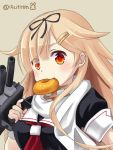 15citron 1girl adapted_turret artist_name black_ribbon black_serafuku blonde_hair cannon commentary_request doughnut food grey_background hair_flaps hair_ornament hair_ribbon hairclip kantai_collection long_hair mouth_hold neckerchief red_eyes red_neckwear remodel_(kantai_collection) ribbon scarf school_uniform serafuku simple_background solo turret upper_body white_scarf yuudachi_(kantai_collection)